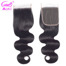 Ariel Body Wave 4*4 Lace Closure 100% Human Hair Natural Color Malaysian Non Remy Hair Middle/Three/Free Part Closure 8-22 Inch(China)