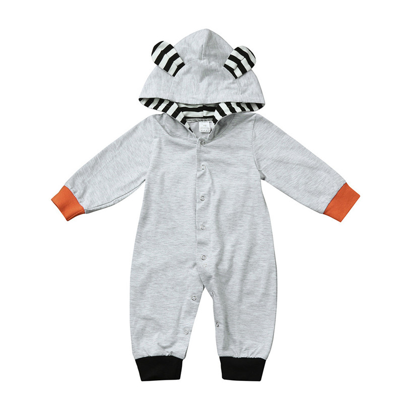 2018 Winter Babys Clothes Toddler Infant Baby Boys Girls Fox Print Long Sleeve Stripe Hooded Jumpsuit Romper Clothes JY26#F (6)