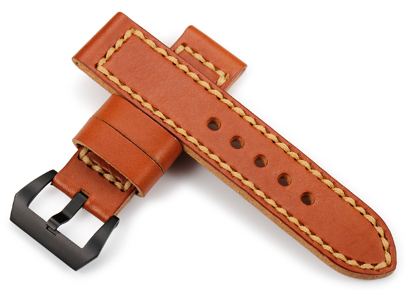 Watch band leather Brown 24mm  Handmade Genuine Cowhide Watchband for Panerai Men's Watches Watch strap with Black Silver Buckle 24mm handmade black red stitched genuine calf leather watch strap band for deployment buckle watchband strap for panerai pam