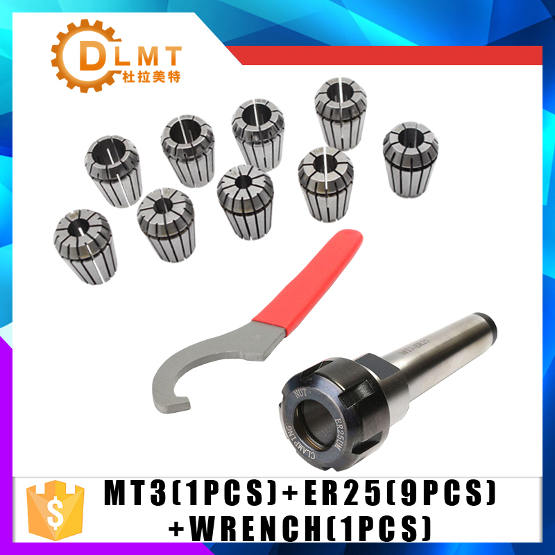 9pcs ER25 Spring Collets + 1PCS MT3 M12 ER25 Collet Chuck Morse Taper Holder For CNC Milling Lathe Tool