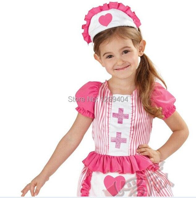 384c8702f1dcc Cute Nurse Dress and Apron Girls Fancy Dress Uniform Kids Childrens  halloween Costume Sweetheart Age 2-4 Years A1434