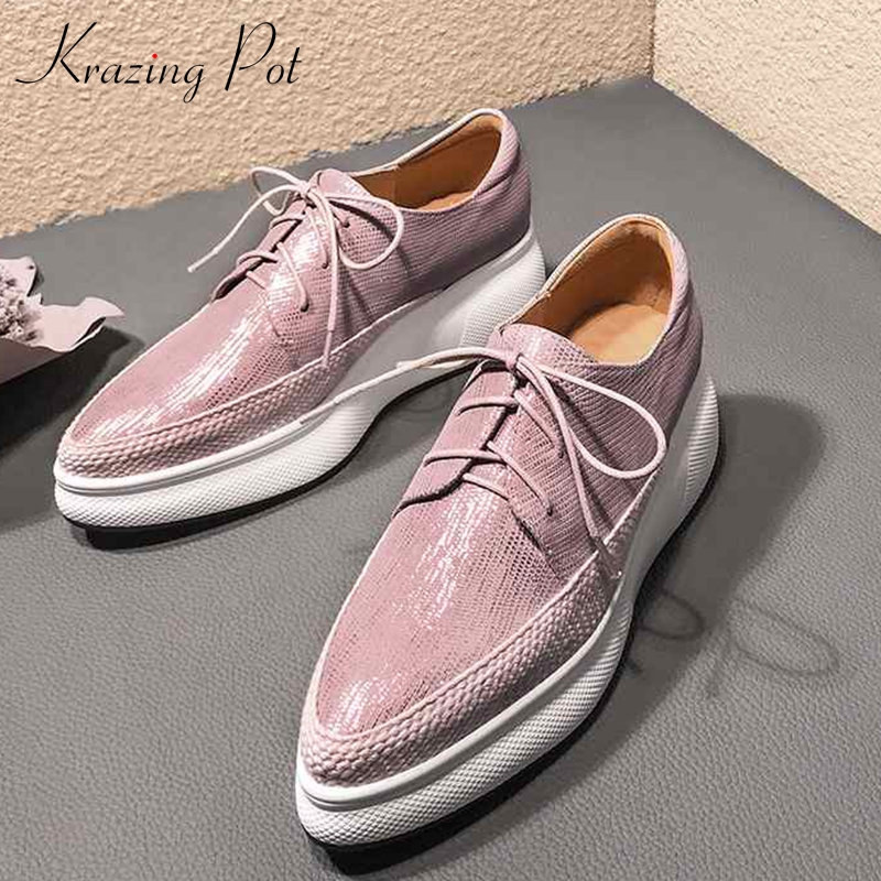 Krazing Pot Special Sheep Leather Wedges Platform Pointed Toe Sneakers High Street Fashion Leisure Casual Vulcanized Shoes L7f1