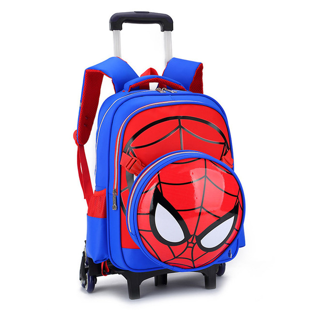 2017 New school bag with 6wheel Removable backpack Cartoon orthopedic school bags trolley school bags for girls boys 3-6 grade