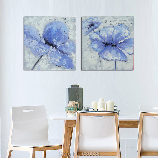 blue and red flower 100 hand painted pop art hotel restaurant cafe decor canvas modern