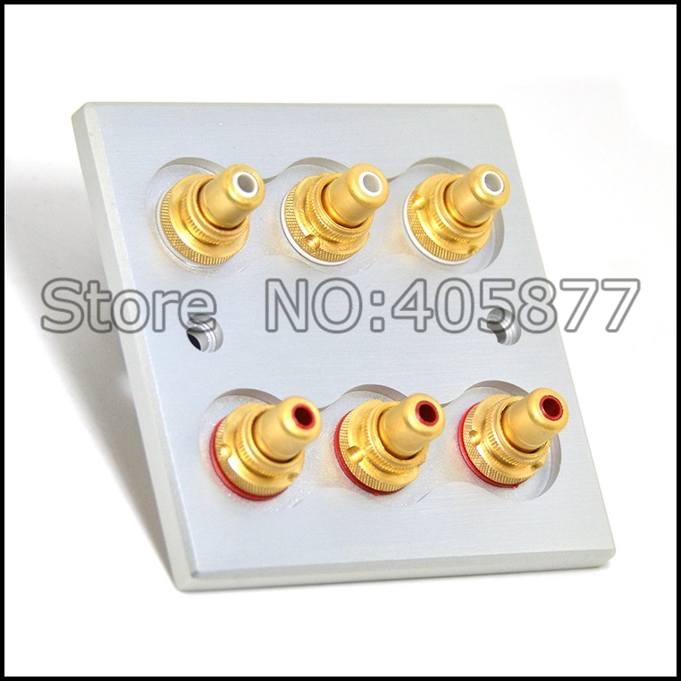 Hi-End Home theater gold plated 6ways Wall RCA Socket hifi rca jack socket gold plated socket pixhawk px4 247