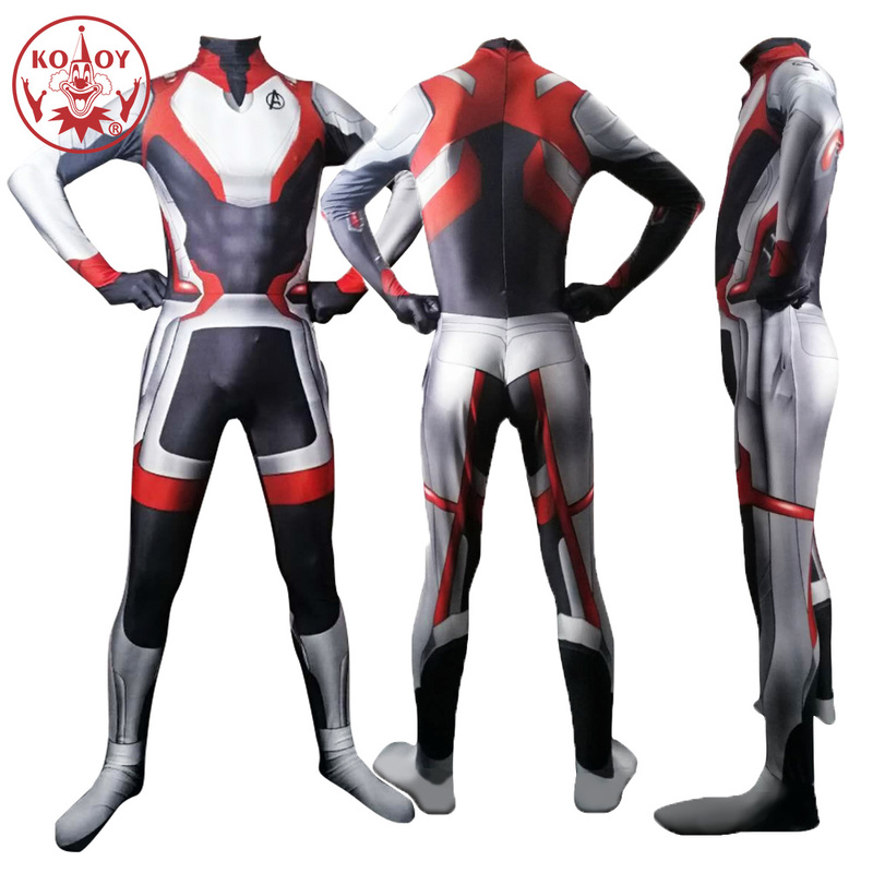 KOOY Avengers Endgame 4 Quantum Realm warfare Cosplay Costume for men Adult Superhero Captain Marvel Zentai Bodysuit Jumpsuit