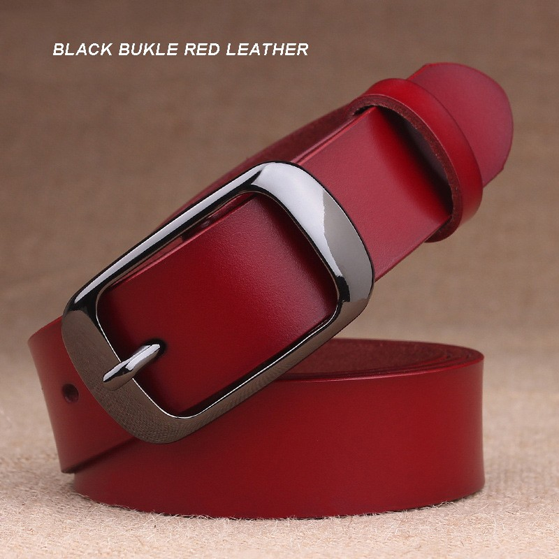 BLACK BUKLE RED LEATHER