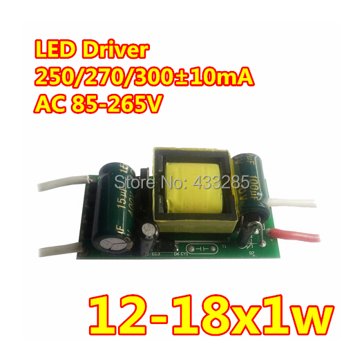2014 New Arrival Direct Selling 10pcs/lot 12-18w Led Light Driver Transformer Power Supply Ac85-265v 280-300ma Free Shipping ...