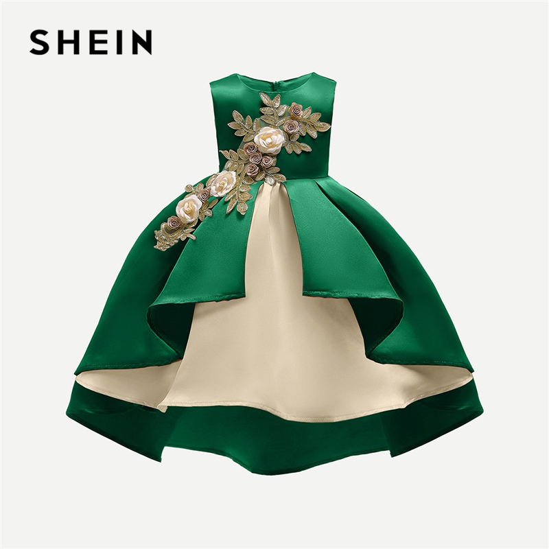 SHEIN Green Toddler Girls Appliques Detail Dip Hem Party Dress Girls Clothing 2019 Sleeveless A Line Elegant Long Girls Dresses black boat neck long sleeves slit hem jumper