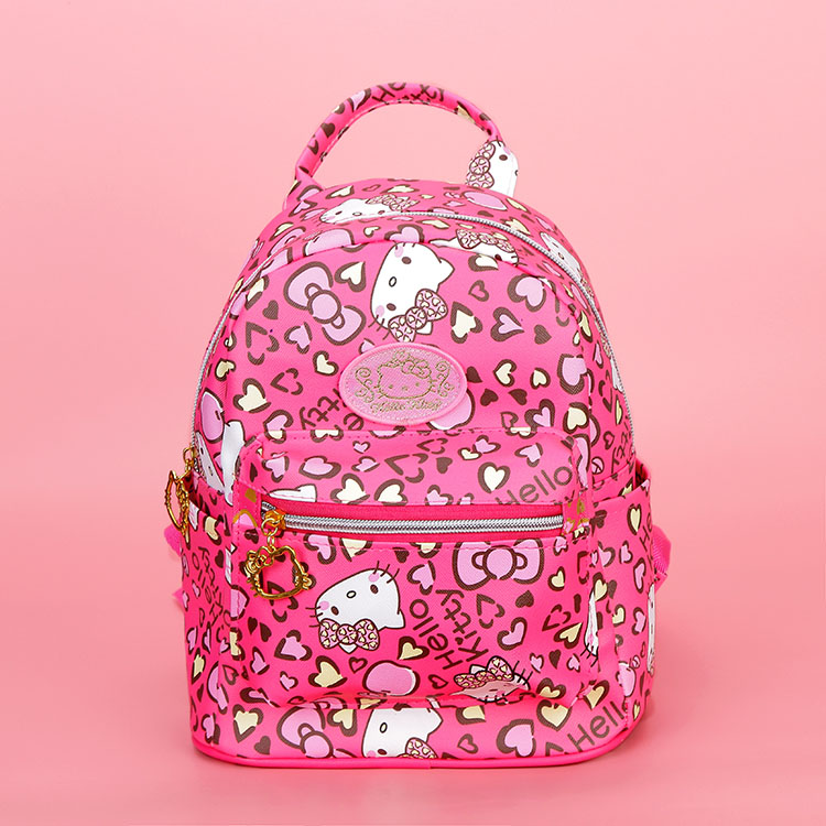 New Cartoon Cute Genuine Hello Kitty Backpack Hellokitty Bag High Quality Pu Pink Children School Bags Travel Bag For Girls Gift