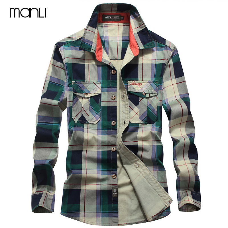 MANLI Men's Plaid Cotton Breathable Shirts High Quality Military Air Force Shirt Men Long Sleeve Male Hiking Camping Male Shirts