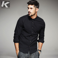 KUEGOU New Autumn Mens Casual Shirts Black Blue White Color Brand Clothing For Man S Long