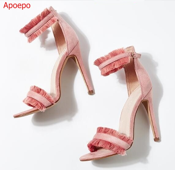 2017 Summer Newest Woman Sandal Sexy Open Toe Ankle Strap Shoes Pink Suede Tassel Super High Thin Heels Sandal Gladiator Sandal 2017 newest summer black brown leather sandal for woman sexy open toe flat crystal sandal sequins bead t strap buckle shoes
