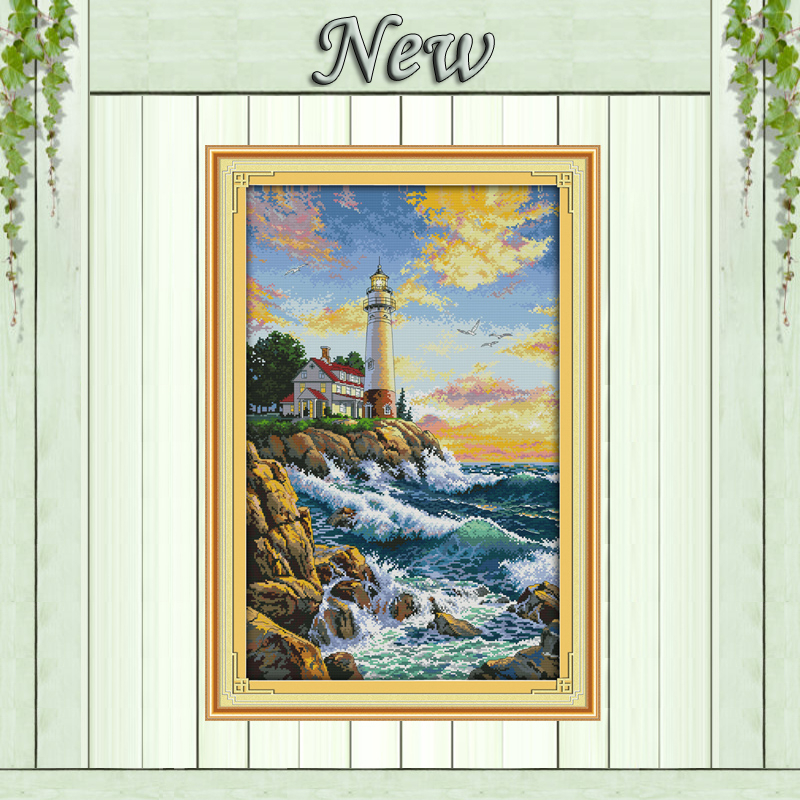 The Lighthouse Sea Scenery Decor Paintings Counted Print On Canvas DMC 14CT 11CT DIY Cross Stitch Embroider Kits Needlework Sets