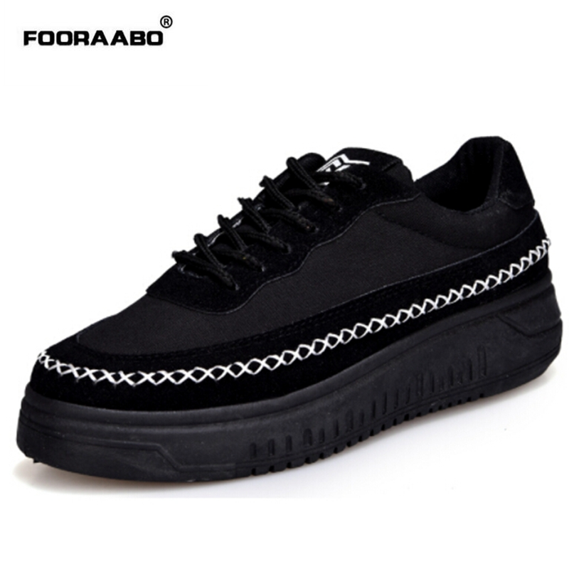 Fooraabo 2017 Spring Women Flat Platform Shoes Solid Comfortable Women Casual Shoes New Fashion Lace Up
