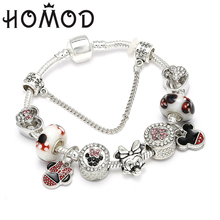 HOMOD Dropshipping Mickey Minnie Charm Bracelet With Cartoon Marano Beads Fit Original Brand For Kids Best Gift