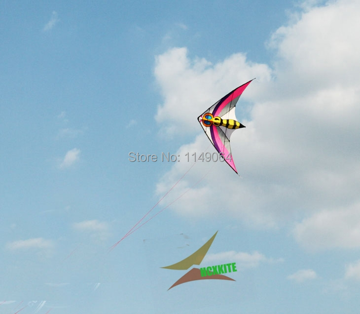 free shipping high quality 2.4m bee dual line stunt kite surf with handle line easy kite games chinese kite flying toys hcxkite 2 5m huge dual line control soft frameless stunt parafoil flying kite plaid cloth made with 2 line board and 2 x 40m line