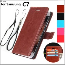card holder cover case for Samsung Galaxy C7 C7000 C7 Pro C7010 leather case wallet Case flip Case Protective Holster(China)