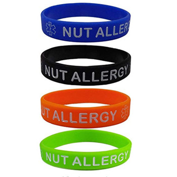 1pc  NUT Allergy medical Silicone Wristbands Blue Orange Green and Black bracelet 1