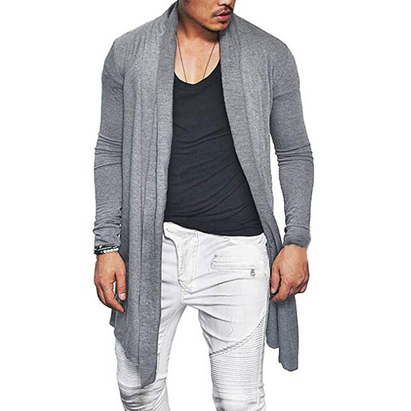 Moda Mens Cardigan cascada de manga larga trinchera abrigo capa de la Rebeca del Color sólido Slim Fit otoño primavera ropa para Hombre