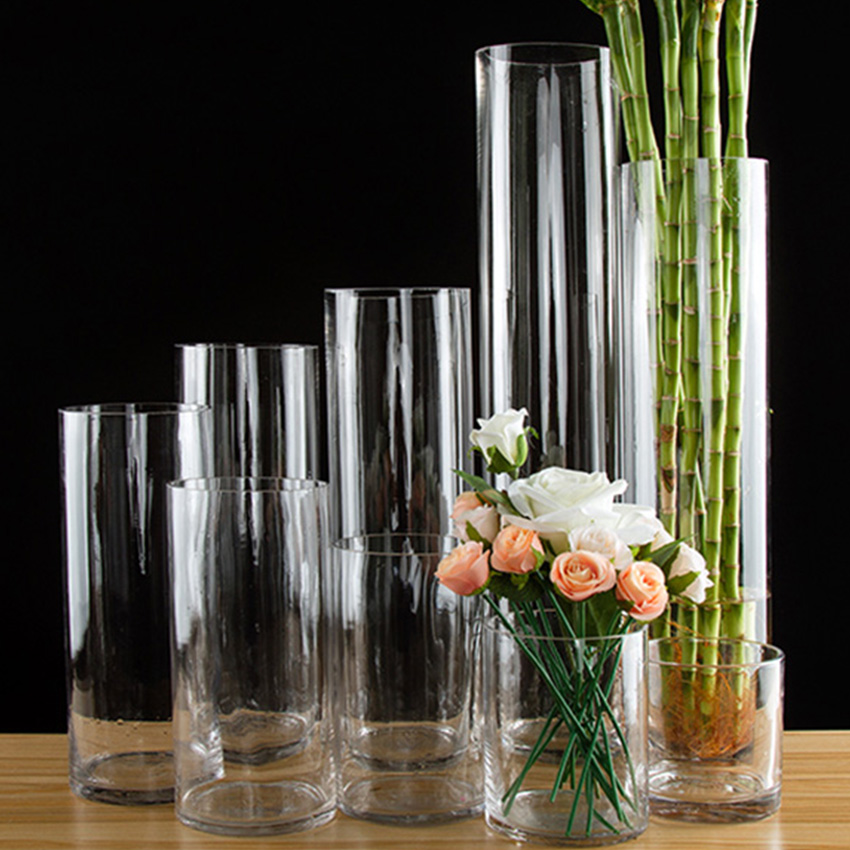 Modern Glass Vase Straight tube transparency Tabletop Glass Vases tall Vase Hydroponics Container Pot Flower Home Wedding Decor in Vases from Home Garden