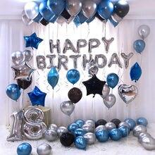 Altın gümüş Metal lateks balonlar 18 30 40 50 60 70 yıl sayı mutlu doğum günü yıldönümü partisi dekor yetişkin folyo balon hediye