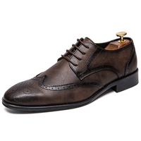 2018 Brogue formal shoes men Cow Leather dress shoes Genuine Retro Pointed Toe Oxford male footwear lace up plus size 38 47
