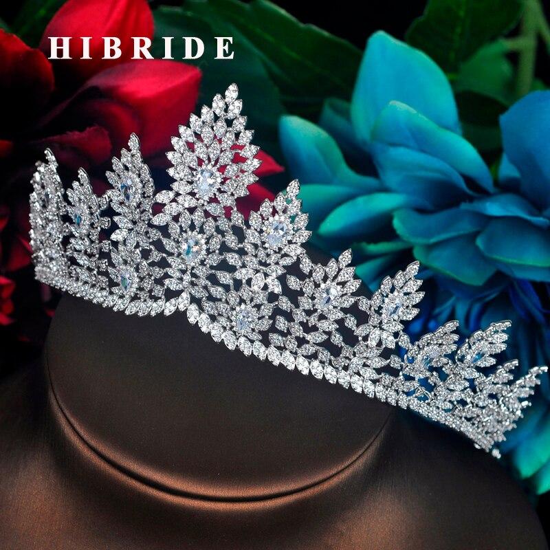 HIBRIDE New Luxury Flower Design Women Bridal Headband Tiara Crown Sparking CZ Pave Crown Hair Accessories