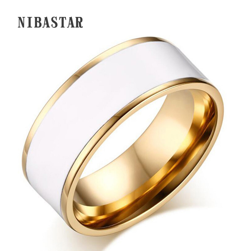 Hot Sale Aliexpress gullbelegg rustfritt stål ring deksel hvit emalje ring inisde polert for kvinner eller mann ring