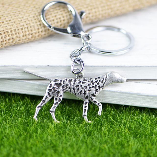 Tkuamigo Trendy Pet Memorial Gifts Metal German Pointer Silver Dog Rescue Keychain Jewelry for GSP Charitys A220 56*30mm