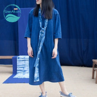 LinenAll spring and summer new original design plant dyeing handmade embroidered blue robe dress long dress