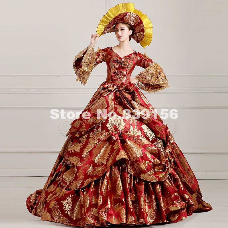 High end Wine Red Floral Medieval Renaissance Marie Antoinette Ball ...