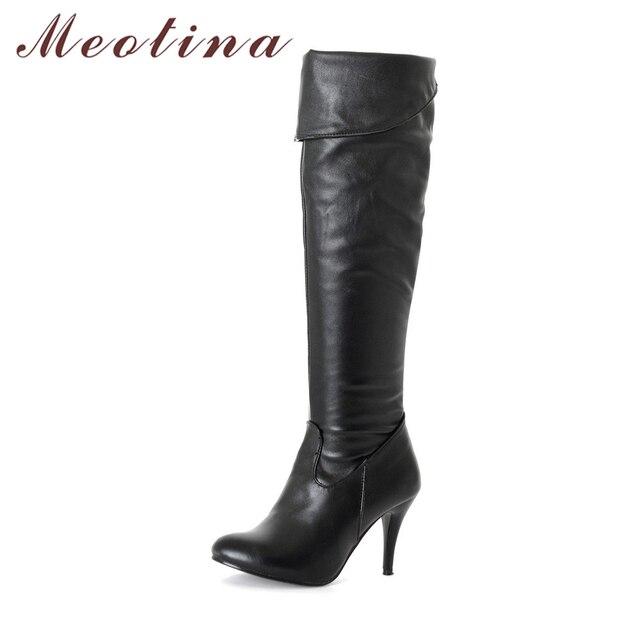 Meotina 女性ブーツハイヒール腿の高ブーツ冬セクシーな膝秋の靴黒、白の靴ビッグサイズ 10 43