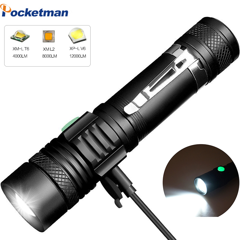 USB LED Flashlight 12000LM Powerful LED Torch Ultra Bright Linterna T6/L2/V6 Flashlight Rechargeable Flashlight By 18650 Battery