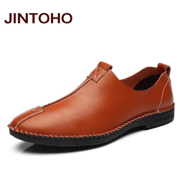 42145e5f8 JINTOHO Homens Moda Couro Sapatos Casuais Famosa Marca Homem Sapatos  Sapatos Masculinos de Couro Italiano de