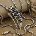316L Stainless Steel Skulls Knuckle Duster Mens Biker Pendant AJ05(Necklace 24inch)