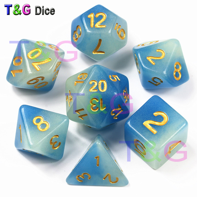 Chegada nova Mix-cor Dice Glow In Escuro, Cor Azul 7 Pc/set, d4 D6 D8 D10 D10 % D12 D20 para Dungeons And Dragons, DND Board Game