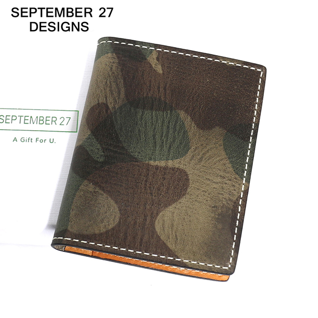 ID Card Holder luxury Genuine Leather bank & credit card Case Camouflage design Mini Purse Slim wallet money Pocket Card Holders