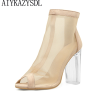 AIYKAZYSDL Summer Women Peep Toe Boots Cut Out Mesh Short Boots Bootie Clear Transparent Chunky Square
