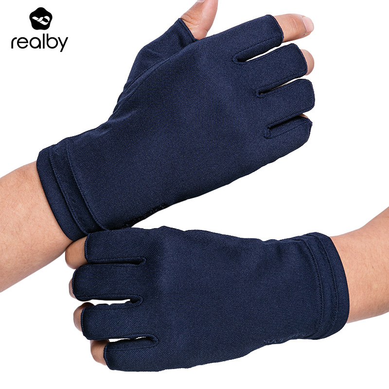 REALBY Summer Fingerless Driving Gloves Male Thin Sunscreen Solid Wrist Gloves UV Protection Mittens Luvas De Inverno Military