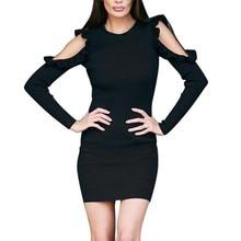 Платье Осенне-зимняя Дамская обувь Повседневное мини-платье с открытыми плечами с длинным рукавом Твердые Vogue вязаное платье женственное платье Vestido