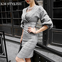 Autumn 2017 New Women Korean Slim Plaid V Neck Sexy Long Section Waist Lantern Sleeve Dress
