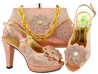 Peach Color Italian Shoe with Matching Bags High Quality African Shoe and Bag  Set for Party 8373f3cd733c