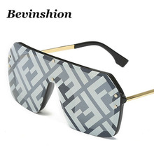 a7113dbc4387 Bevinshion 2019 One Piece Brand Designer With F Wrid Square Sunglasses Women  Mirror