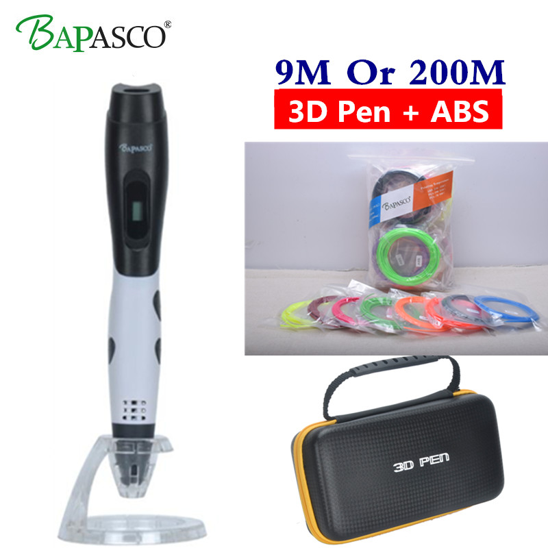 3D Printing Pen Bapasco BP-04 3D PEN with usb cable temperature display screen Free ABS/PLA filament DIY drawing toys For Kids christmas gifts fast epacket dewang newest 3d pen wiht usb cable low temperature free 9m abs pla child gift for imagination