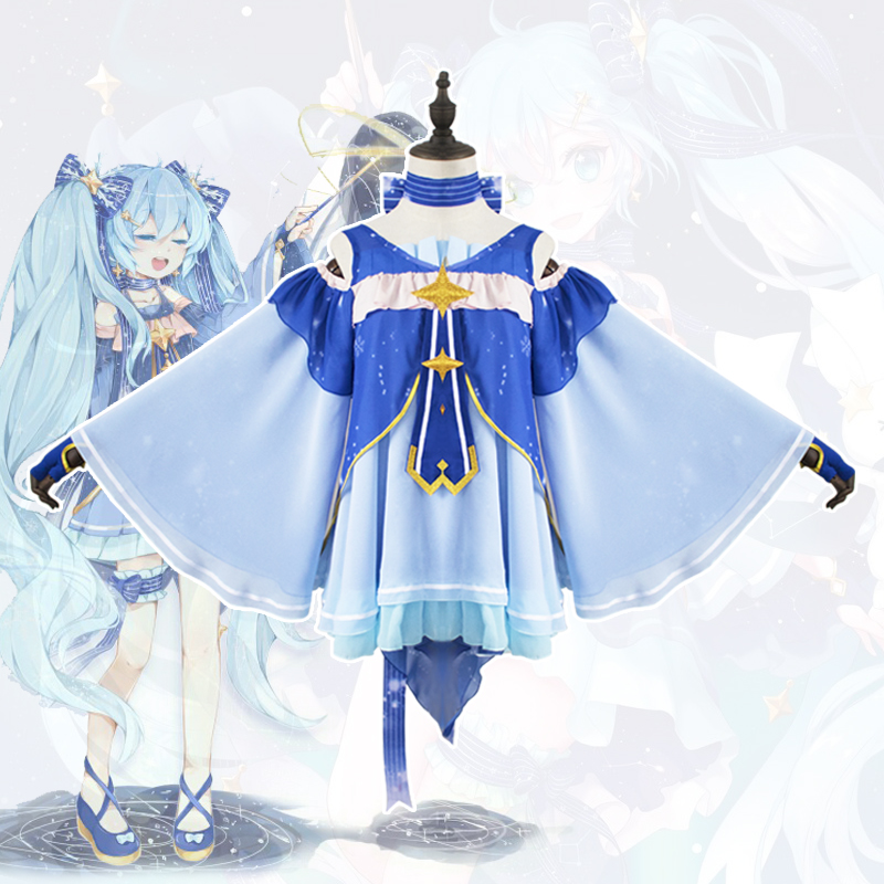 2018 High Quality Cosplay Snow Miku Hatsune Star Princess Dress Set Cosplay Halloween Christmas Costumes Party Japanese Dress