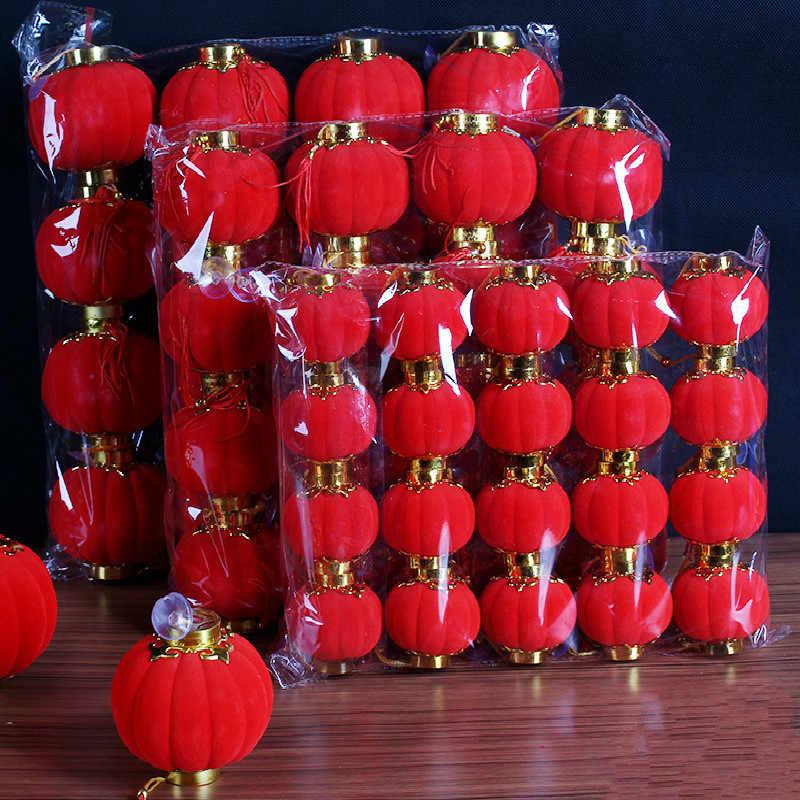 Chinesische Traditionelle Rote Beflockung Kleine Laternen Neue Jahr/Hochzeit/Party Decor/Geburtstag Party Mini Layout Laterne (12 teile/paket)
