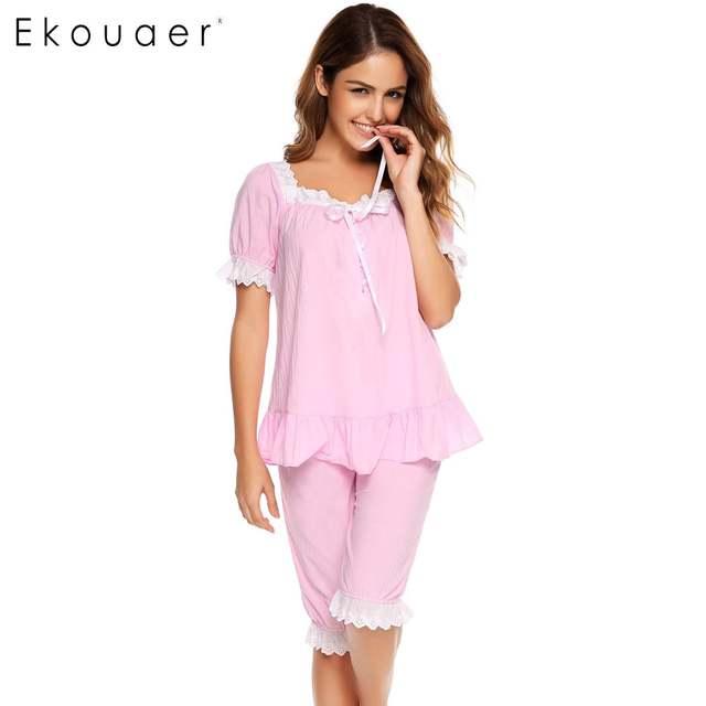 a788a7387 Ekouaer Vintage Pajamas Set Women Lace Patchwork Sleepwear Victorian Short  Sleeve Nightwear Summer Cute Nightgown Female Pajama-in Pajama Sets from ...