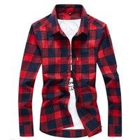 Men S Flannel Plaid Shirts Dress 2018 Male Casual Warm Soft Comfort Long Sleeve Shirt Clothes