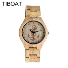 TIBOAT Full Bamboo Wood Watches Lost sea Anchors Bamboo Clock Wooden Wristwatches Men Luxury Watch relogio masculino de luxo